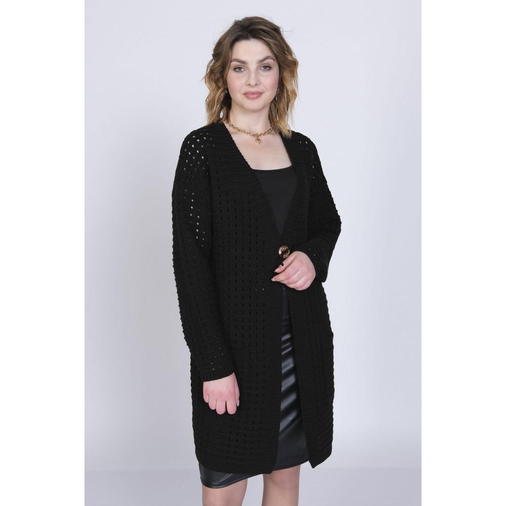 Кардиган М 2541/черный . Вязаный трикотаж оптом от производителя. Женская одежда оптом в магазине Анколи