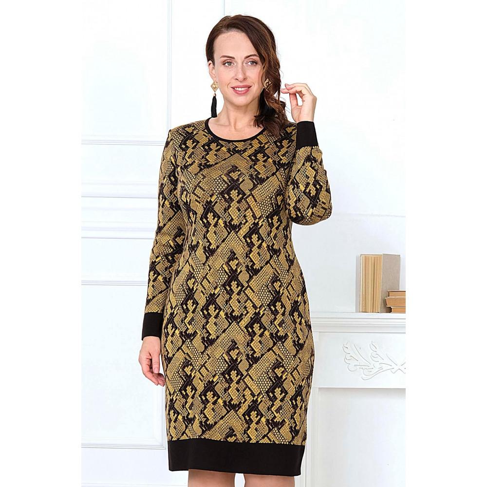 Платье Т 2104 горчица. Вязаный трикотаж оптом от производителя. Женская одежда оптом в магазине Анколи